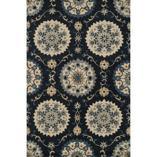 Hand-tufted Wilson Navy Wool Rug (9' x 12')