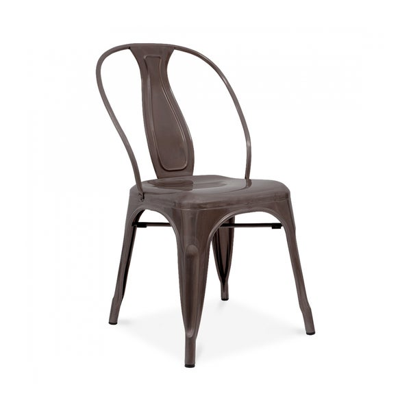 Sake Stackable Rustic Matte Steel Side Chair (Set of 4)