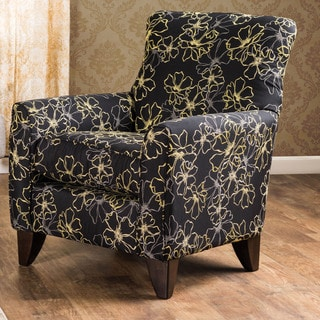 Furniture of America Leslie Contemporary Black Floral Arm Chair
