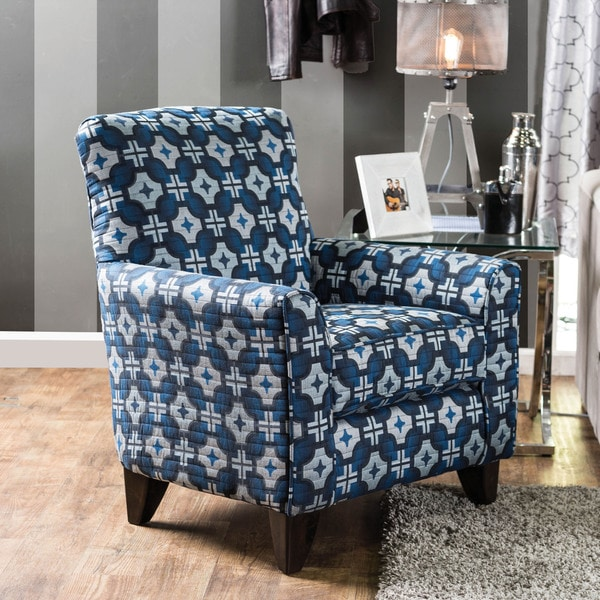 Furniture of America Maslie Contemporary Blue Geometric Print Arm Chair