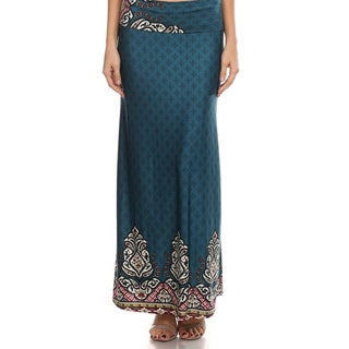 Women's Watercolor Border Maxi Skirt