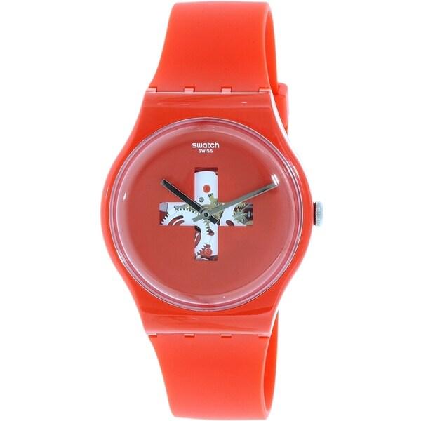Swatch Men's Originals SUOR106 Red Silicone Quartz Watch