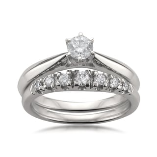 14k White Gold 1/2ct TDW Certified White Diamond Engagement Ring and Wedding Band Set (H-I, SI1-SI2)