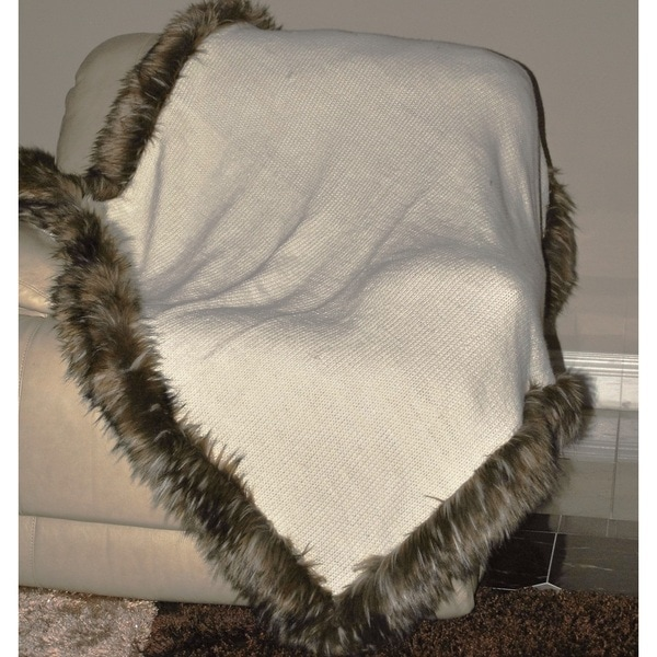EverRouge Hand Knitted Throw Blanket with Faux Fur Edge Lining