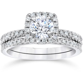 10k White Gold 1ct TDW Engagement Cushion Halo Wedding Ring Set (H-I,I1-I2)