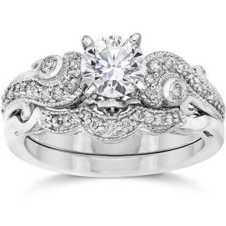14k White Gold 3/4 CTTW Vintage Diamond Engagement Wedding Ring Set 14K White Gold (I-J, I2-I3)