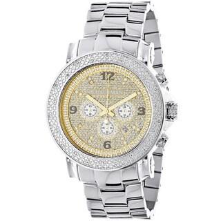 Oversized Men's Diamond Watch 1/4ct TDW Luxurman Escalade Two Tone Chronograph
