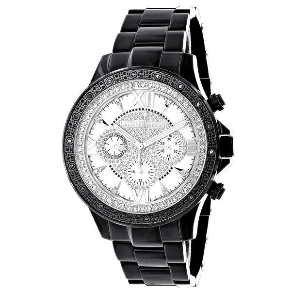 Luxurman Liberty Mens 1/5ct Diamond Black Watch