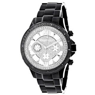 Luxurman Liberty Mens 1/5ct Diamond Black Watch