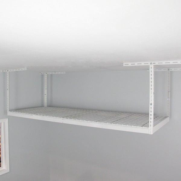 White 3' x 8' Overhead Garage Storage Rack