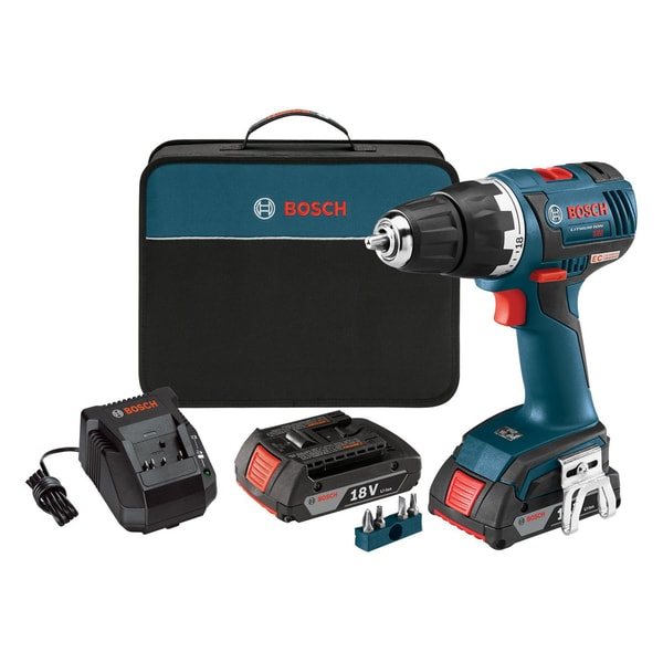 Bosch DDS182-02 18-Volt Brushless 1/2-Inch Compact Tough Drill/Driver with 2.0Ah Batteries + Charger/Case