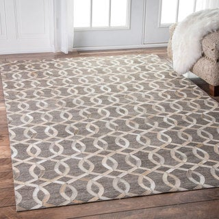 nuLOOM Handmade Modern Linked Trellis Leather/ Viscose Beige Rug (8' x 10')
