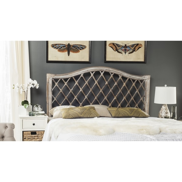 Safavieh Gabrielle Antique Grey Wicker Headboard (Full)