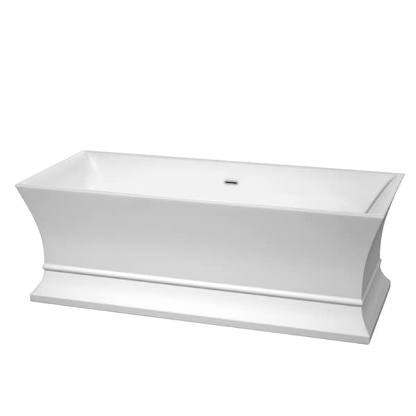 Wyndham Collection Jamie 67-inch Freestanding Soaking Bathtub in White