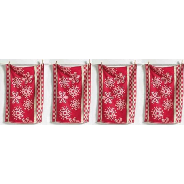 Tag Snowflake Jacquard Napkin- Red, Set Of 4