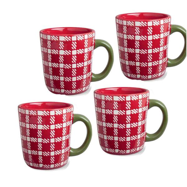 Tag Winter Sports Plaid Mug- Red, Set Of 4
