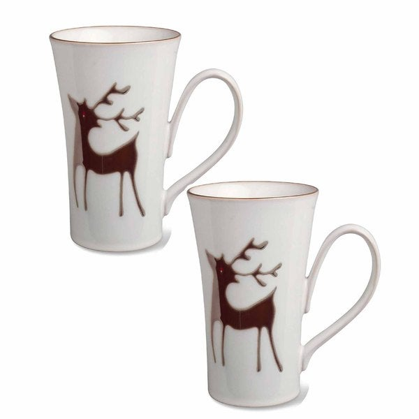 Tag Reindeer Mug, Set Of 2