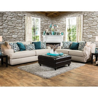 Furniture of America Mellie Transitional 2-piece Beige Fabric Sofa Set