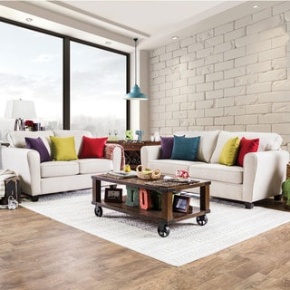 Furniture of America Kayleigh Contemporary 2-piece Beige Fabric Sofa Set