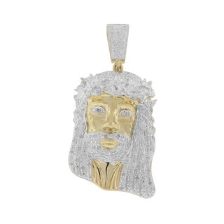 Sterling Silver 5/8ct TDW Diamond Jesus Pendant (G-H , i2- I3)
