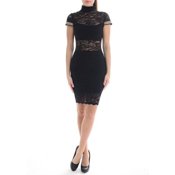 Sentimental NY Women's Sexy High Neck Lace Dress