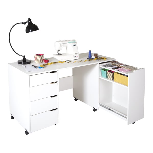 South shore crea rolling sewing machine and craft table for South shore artwork craft table with storage pure white