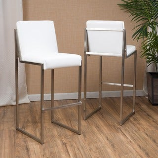 Vasilus 30-inch Bonded Leather Barstool by Christopher Knight Home (Set of 2)