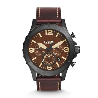 Fossil Men's JR1502 Nate Chronograph Brown Dial Brown Leather Watch