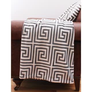 Kelly Greek Key Printed Fleece Throw Blanket