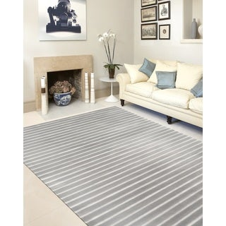 Blue Contemporary Modern Striped Soft Indoor Area Rug (7' 10 x 10')