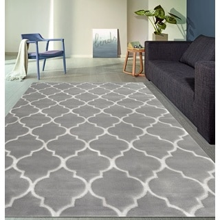 Blue Modern Moroccan Trellis Indoor Area Rug (5' 3 x 7' 3)