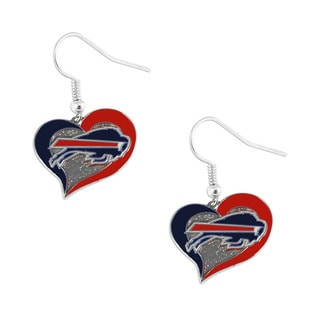 NFL Buffalo Bills Swirl Heart Dangle Earring Set