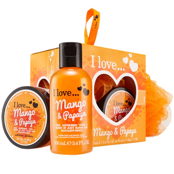 I Love... Mango & Papaya Mini Bubble Bath & Shower Creme Set