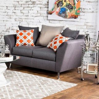 Furniture of America Waylee Contemporary Grey Fabric Loveseat