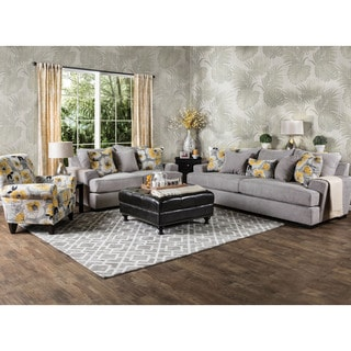 Furniture of America Audellie Contemporary 3-piece Grey Fabric Sofa Set