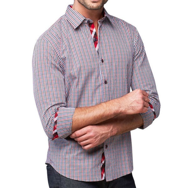 Giorgio Men's Multi-colored Gingham Button Front Sport Slim Fit Shirt Large Size (As Is Item)