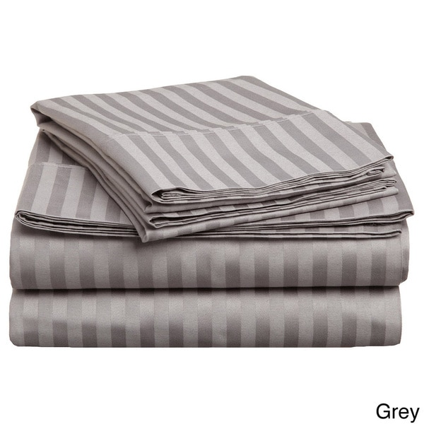 Luxor Treasures Egyptian Cotton Queen-size 300 Thread Count Striped Olympic Sheet Set in Ivory (As Is Item)