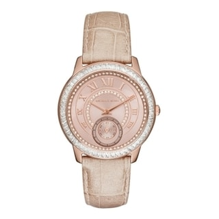 Michael Kors Women's MK2448 Madelyn Diamond Rose-Tone Dial Sand Leather Watch