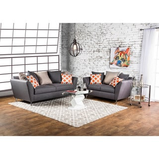 Furniture of America Waylee Contemporary 2-piece Grey Fabric Sofa Set