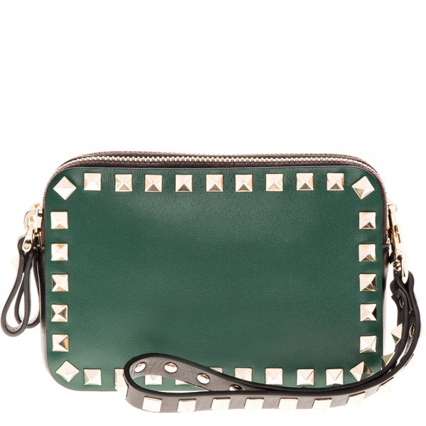 Valentino Mini Rockstud Green Double Pouched Wristlet