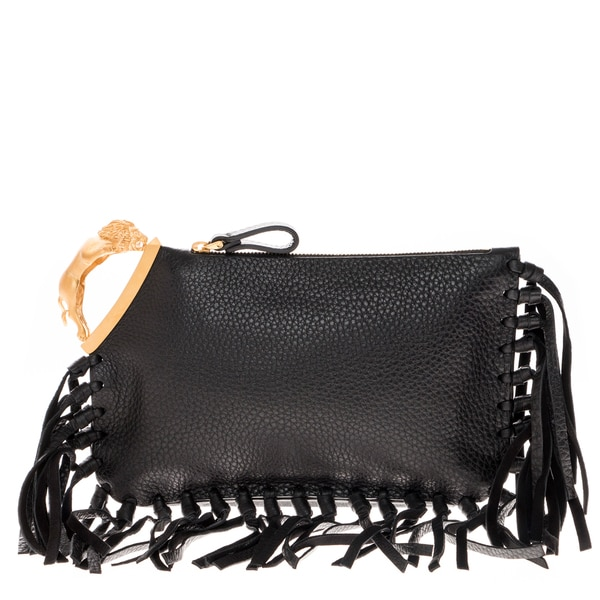 Valentino Leather Tassel Clutch
