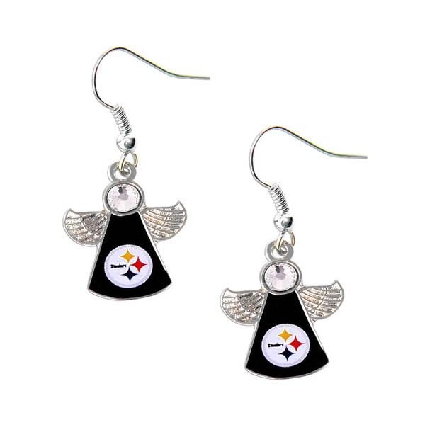 NFL Pittsburgh Steelers Crystal Angel Wings Dangle Logo Earring Set 17129720