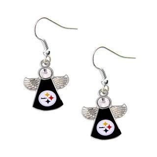 NFL Pittsburgh Steelers Crystal Angel Wings Dangle Logo Earring Set
