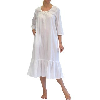 La Cera Women's Long Sleeve Rosebud Embroidered Gown