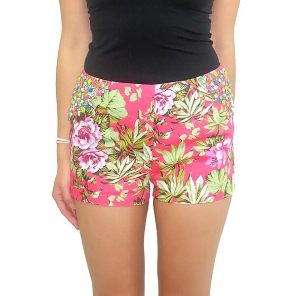 Relished Women's Lulumari Pink Floral Rhinestone Shorts