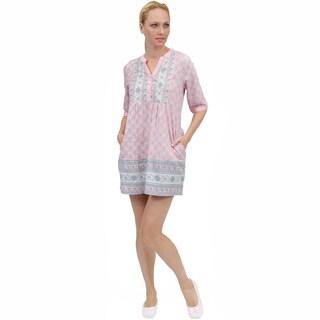 La Cera Women's Printed Voile Short Dress