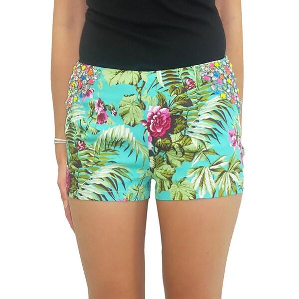 Relished Women's Lulumari Aqua Floral Rhinestone Shorts