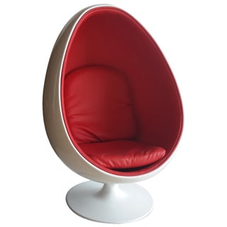 Bienal Egg Shaped Modern Ball Acrylic Chair (Red Cushion) (White Shell)