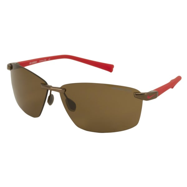 Nike EV0743 Emergent Men's Wrap Sunglasses in Brown-Red/ Brown (As Is Item)