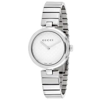 Gucci Women's YA141402 Diamantissima Medium Round Silver-tone Stainless Steel Bracelet Watch